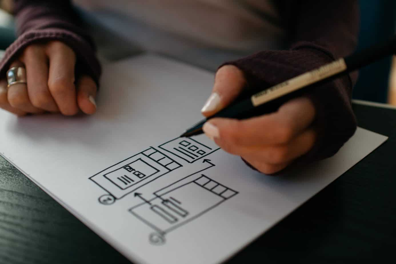 Product designer prototyping mobile app on paper.