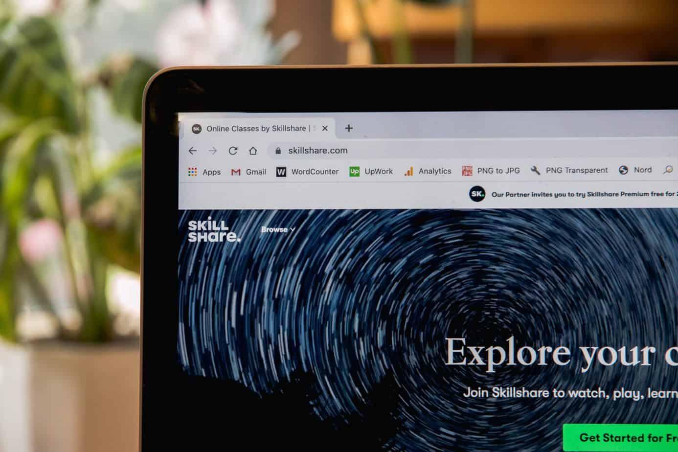 Skillshare e-learning platform open on laptop.