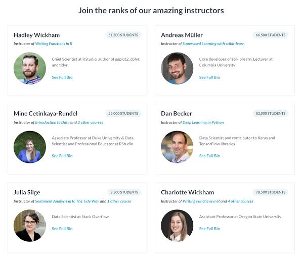 DataCamp quality of content and instructors.